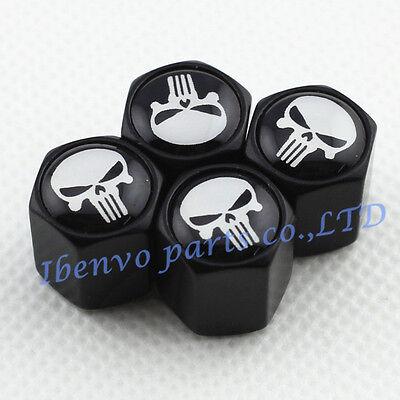 Black Styling Metal Car Wheel Tyre Tire Stem Air Valve Cap For White Punisher