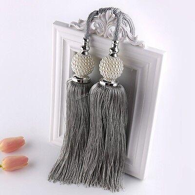 Pair Of Large Curtain Window Tie Backs Ball Tassel Rope Tieback Holdback Crystal