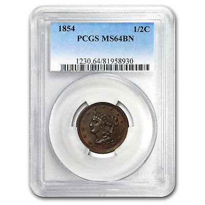 1854 Half Cent MS-64 PCGS (Brown)