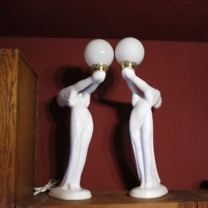 """Two Art Deco Lamps White Ladies Floor Table 32"""" Tall"""