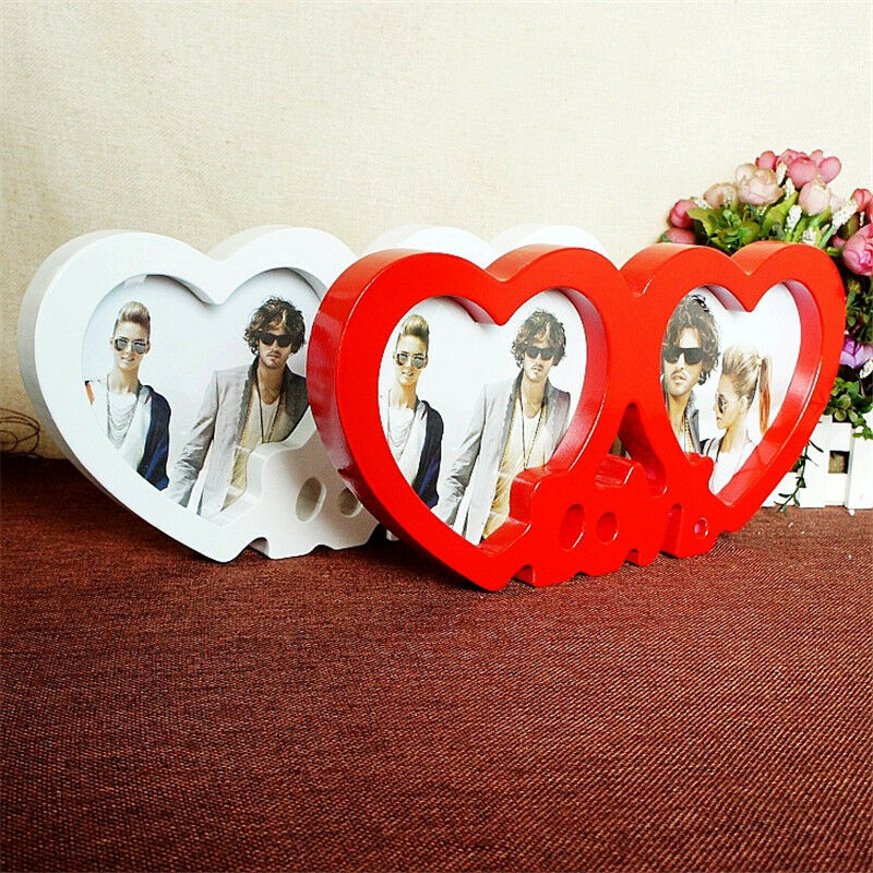 Double Heart Shaped Photo Frame Valentine\'s Day Gift Home Decoration ...