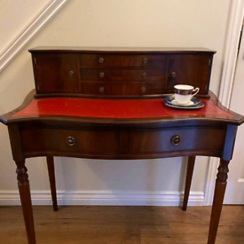 Vintage style Red leather topped writing desk