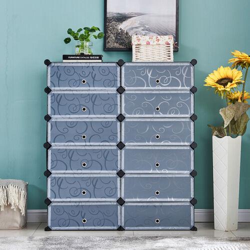 12 Grids W/ Door Portable Shoe Rack Organizer Tower Shelf Storage Cabinet Stand