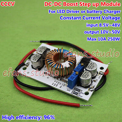 10a Dc Boost Step-up Converter Cc Cv 9v-48v To 12v 24v 36v Power Supply Module