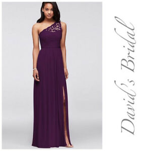 Floor length plum Bridesmaid Dress Size 4