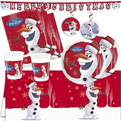 Frozen Olaf Christmas Party Supplies Tableware (Cups Plates Napkins Tablecover) ()