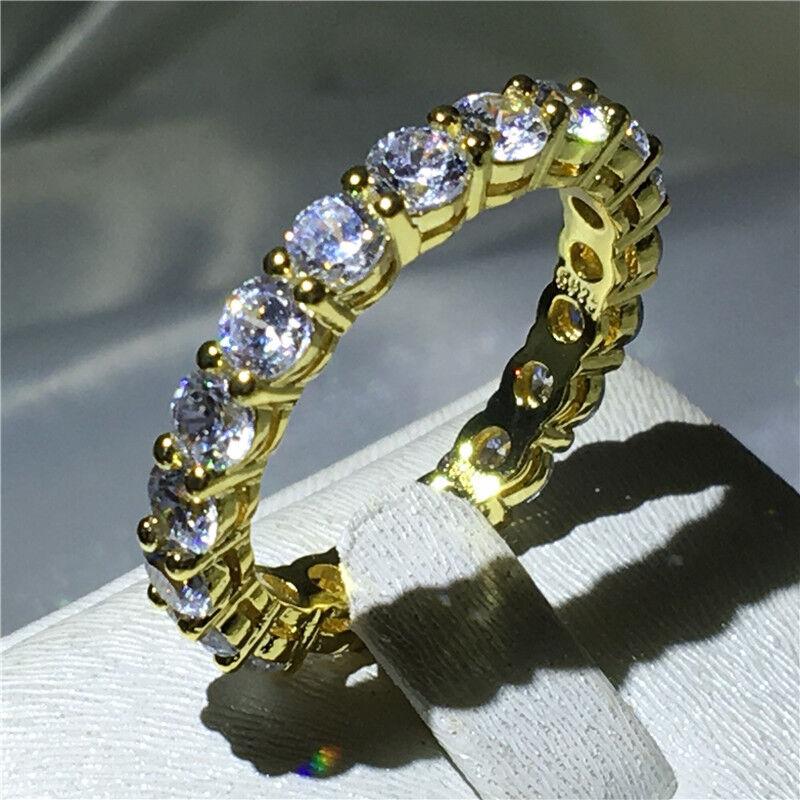 Eternity Jewelry Yellow Gold Filled AAAAA cz Party Wedding B