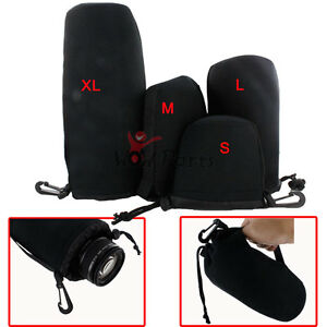 4PCS Neoprene Soft DLSR Camera Lens Pouch Case Bag Protector S+M+L+XL Size