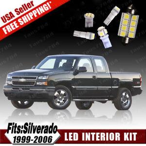 18PCS White LED Interior License Light Package Kit For Chevy Silverado 1999-2006