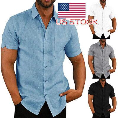 Mens Short Sleeve Shirts Casual Button Down Tops Plain Summer Business Tops