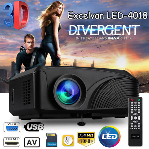 2400Lumen 1080P LED 3D Projector Home Cinema Multimedia HDMI USB VGA AV Player