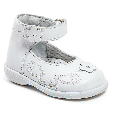 Baby Girl White Leather High Top shoes with Loop & Stitch Design: Size 3 to 8