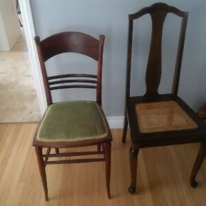 2 Antique mahogany dining room chairs