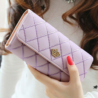 Lady Women PU Leather Crown Trifold Wallet Long Card Holder Handbag Clutch Purse