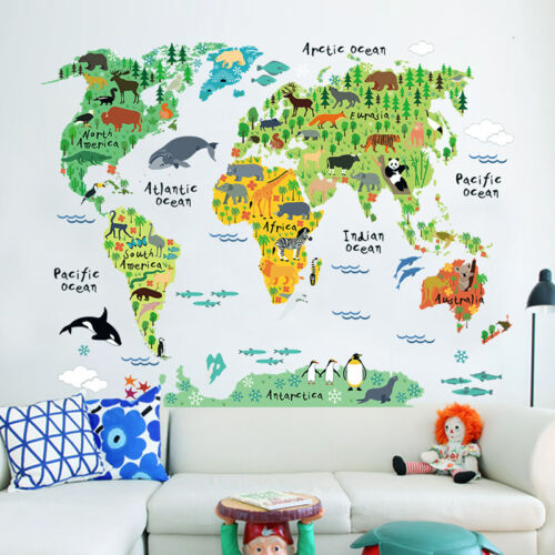 Home Decoration - Children Bedroom Wall Sticker Kids Room Educational Animal World Map Funny *UK