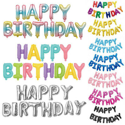 Fashion Colorful Foil Balloons HAPPY BIRTHDAY Kids Party Decor Letters 16 Inch