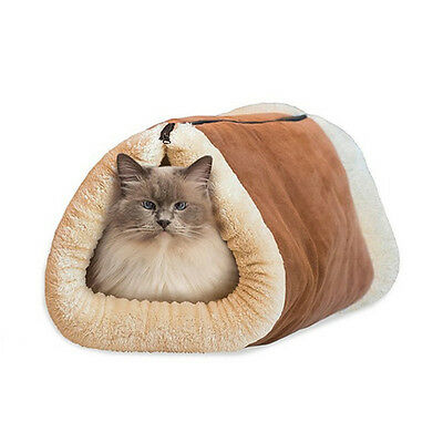 2 in1 Kitty Shack Self Heating Pet Tunnel Bed Mat Cat Dog Portable Cosy Warm Bed