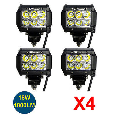 4pcs 4 inch Off Road 18W LED Fog Lamp Work Light Bar SUV Boat Jeep 4WD DRL