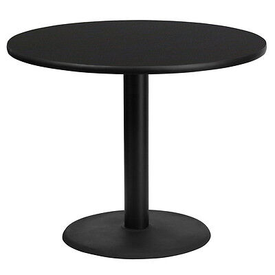 36 Round Black Laminate Table Top With 24 Round Table Height Base