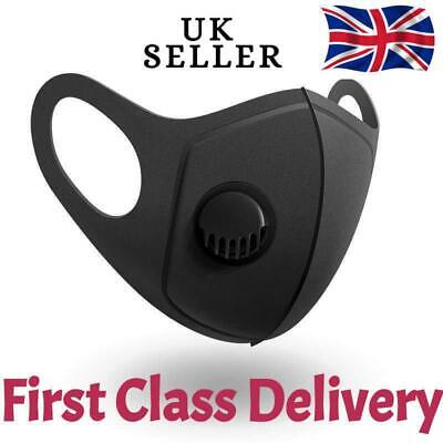 Breathable Washable Face Mouth Masks with Filter Valve [UK SELLER ] 1Pcs