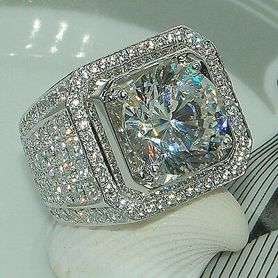 Ring - Fashion 925 Silver Princess Cut White Sapphire Ring Wedding Engagement Jewelry