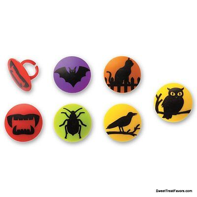 Halloween Decoration Cake Cupcake Toppers x12 Spider Skulls Insects BATS Cat - Halloween Decorated Cup Cakes