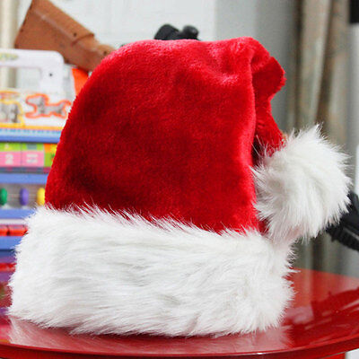 Red And White Costume (Plush Red and White Santa Claus Caps Santa's Hat for Christmas Party Costume)