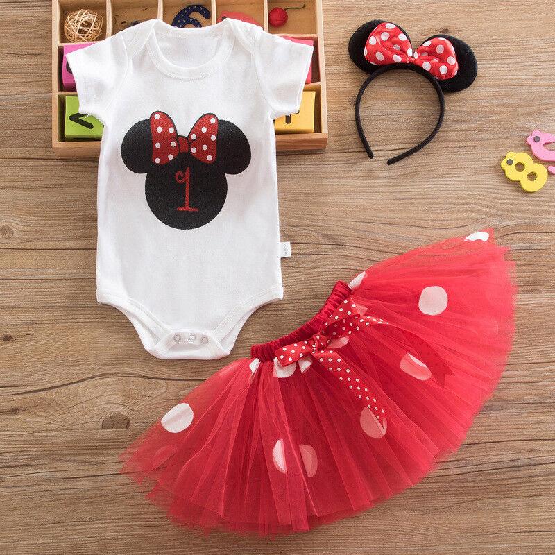 1 Jahr Geburtstag Baby Mädchen Outfit Minnie Kleid Romper Rock Stirnband Sets