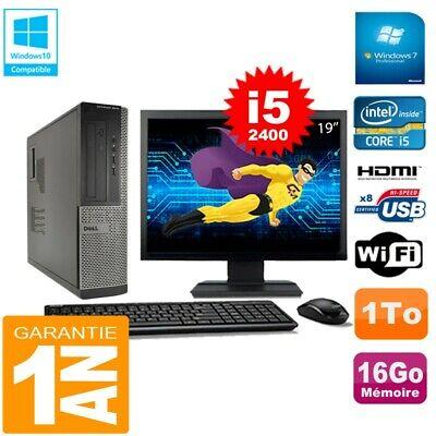 PC DELL 3010 DT Core I5-2400 Ram 16Go Disque 1 To Wifi W7 Ecran 19