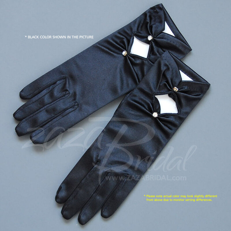 Shiny/Matte Finish Satin Gloves with Gathered Diamond shape and Cubic Accent