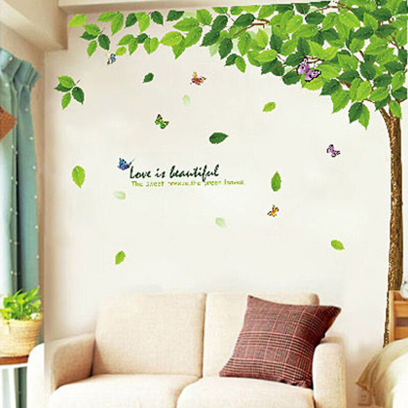 Removable tree art vinyl quote diy flower wall sticker for Diy tree wall mural
