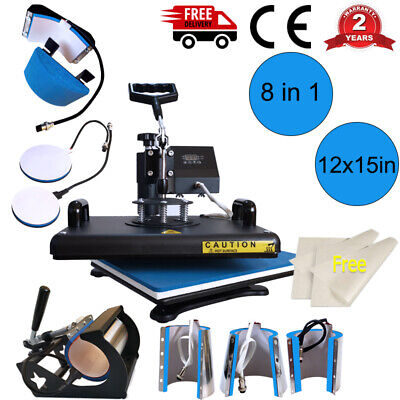 8 In 1 Combo Heat Press Machine Sublimation 1215in For T-shirt Mug Plate Hat Us
