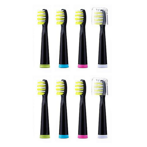Fairywill 8 × Sonic Toothbrush Replacement Heads Black Firm