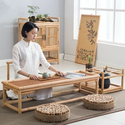 Bamboo Furniture Floor Table Asian Style Low Tea Tables Vintage Rattan Decor New Bamboo Style Furniture