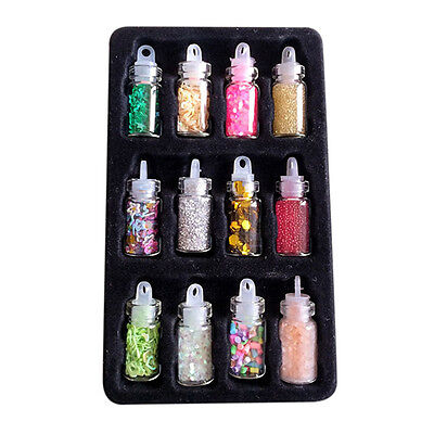 12X Nail Art Decorations Sequins Glitter Powder 12 Colors For Nail Accessories* for sale  Shipping to Ireland