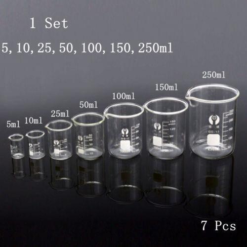 1 Set 7pcs Glass Beaker Chemistry Laboratory Borosilicate Measuring Cylinder