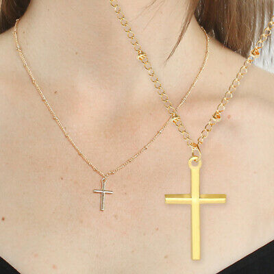 Cross Necklaces For Girls (1PC Cross Pendant Necklace Gold Silver Tone Clavicle Necklace for Women)