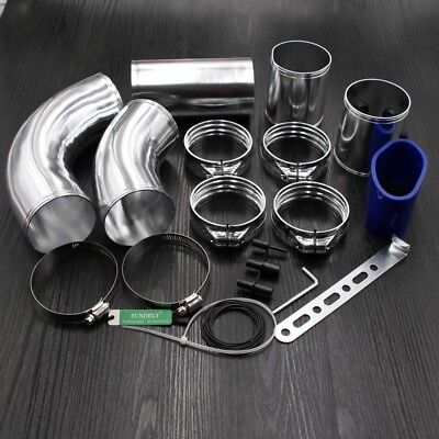 3'' ALUMINIUM ALLOY HIGH FLOW CAR COLD AIR FILTER INDUCTION INTAKE PIPE HOSE KIT