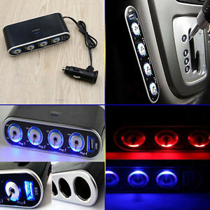 4 Way DC12V Multi Socket Car Cigarette Splitter Lighter Adapter USB Plug Charger