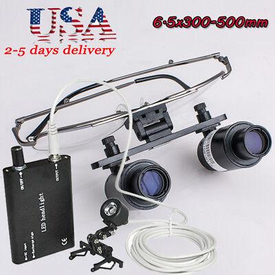 Usa6.5x R 300-500mm Dental Loupes Binocular Loupecase Black Head Light Fda