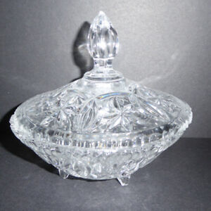 4 VINTAGE GLASS DISHES - CANDY, CONDIMENT, BOWL & PITCHER /MINT