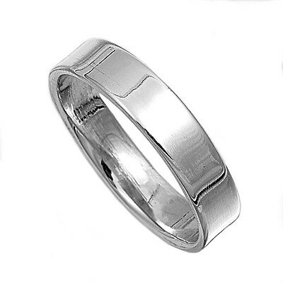 .925 Sterling Silver Flat Cigar Wedding Band Ring 5MM Size 4-13 - 5mm Flat Band Ring