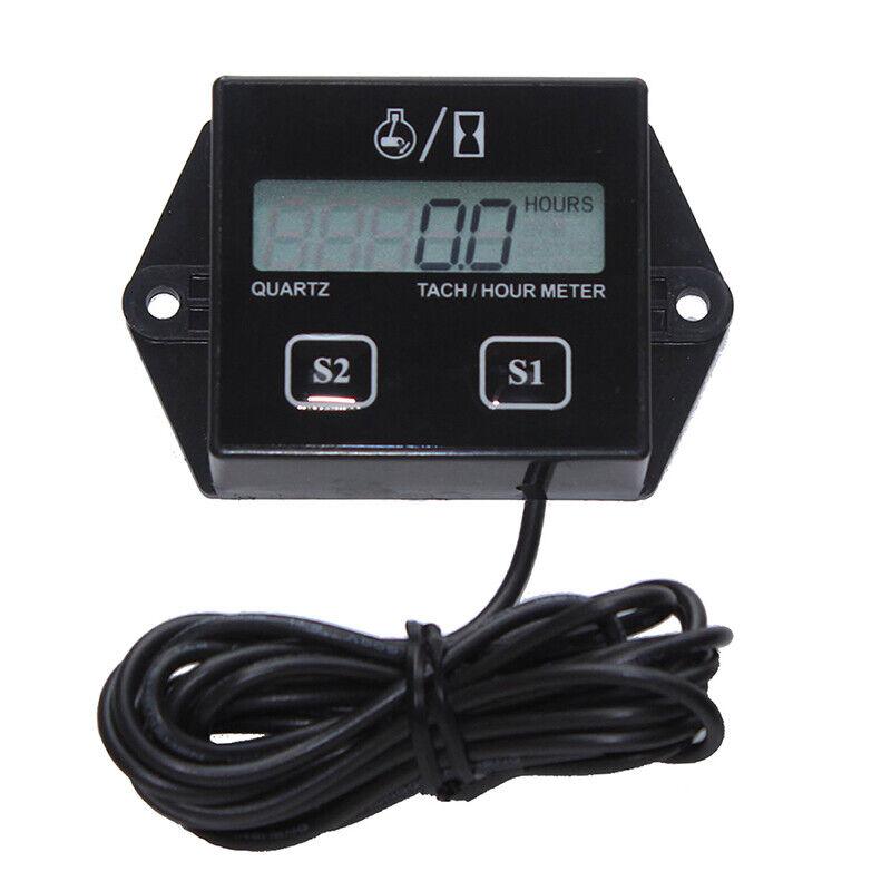 LCD Digital Engine Tach Hour Meter Gauge for Racing Motorcycle BlaGF