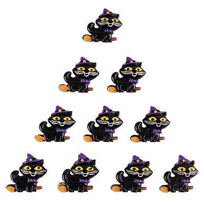 Lot 10pcs Halloween Black Cat Riding a Broom Resin Flatbacks Hair Bow - Halloween Hair Bow Embellishments