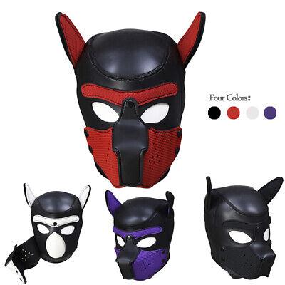 LEATHER GIMP DOG Puppy Hood Full Mask Mouth Costume Fetish Mask ZIPPED - Dog Mask Leather
