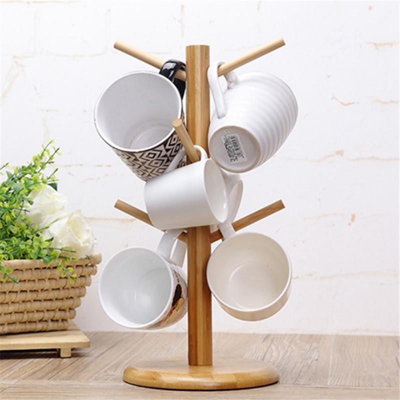 Tree Rack Mug Cup Holder Stand Coffee Tea Storage Wooden Kitchen Display D
