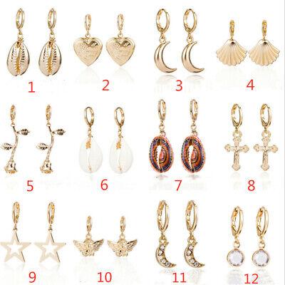Fashion Women Shell Cross Angel Star Moon Ear Clip Drop Dangle Jewelry Earring Dangling Shell Cross