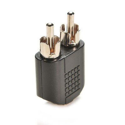 Silver Plated 3.5mm Female Stereo To 2 RCA Male Audio Jack Connector Adapter##