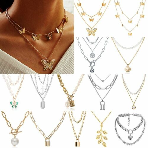Women Boho Multi-layer Long Chain Pendant Crystal Necklace C