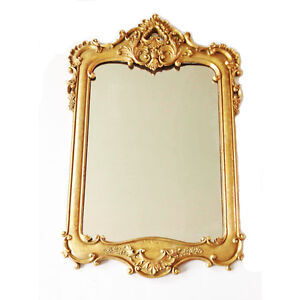 Miroir rectangulaire en r sine dor e la main de style for Force de miroir ebay